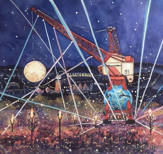 New festival illustration to celebrate Glastonbury festivals 50th birthday.