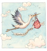 New Baby Stork Personalised illustration